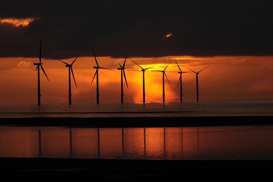 Wind turbines at Crosby, Merseyside.